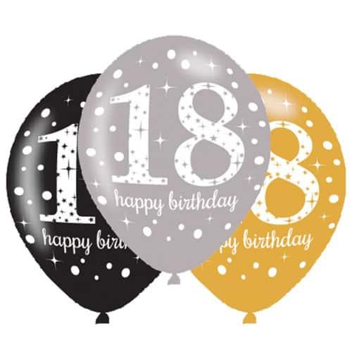 Celebración Del Oro 18 Globos Felices del Látex del Cumpleaños 27cm Paquete de 6