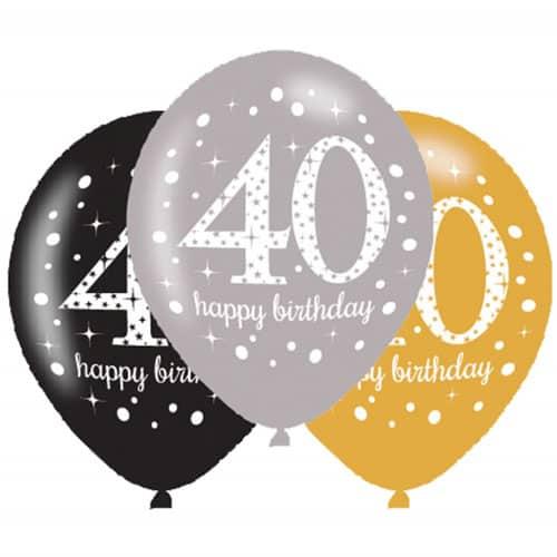 Celebración Del Oro 40 Globos Felices del Látex del Cumpleaños 27cm Paquete de 6