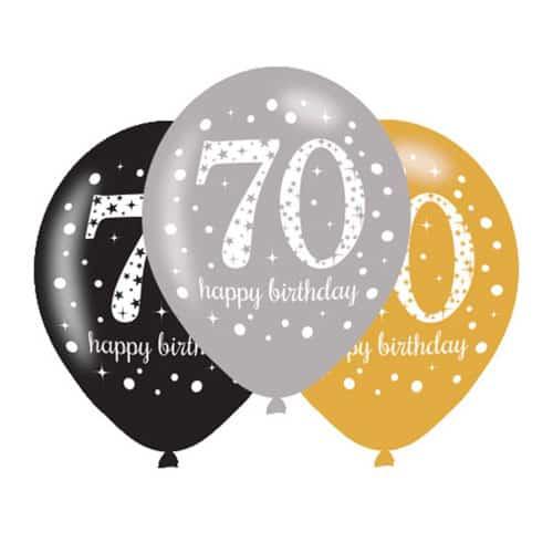 Celebración Del Oro 70 Globos Felices Del Látex Del Cumpleaños 27cm Paquete de 6
