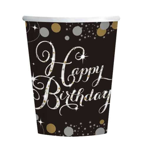Celebración De Oro Feliz Cumpleaños Taza De Papel 266Ml