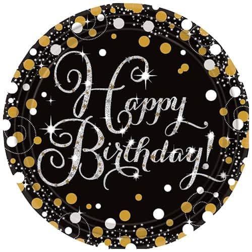 Platos De Papel Redondos Feliz Cumpleaños Celebración Dorada 23Cm - Paquete De 8