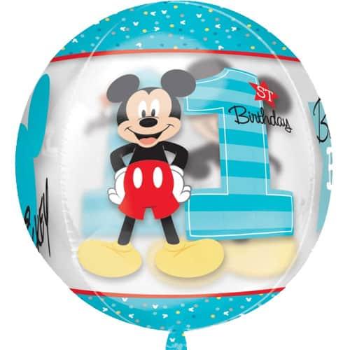 1r cumpleaños de Mickey Mouse Chico Claro Orbz Globo - 38cm