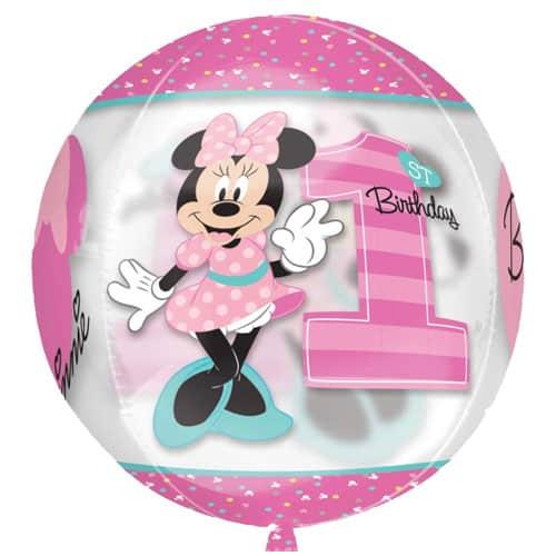 Minnie Mouse 1Er Cumpleaños Niña Globo Orbz Transparente 38Cm / 15 In
