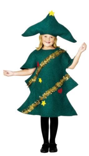 Árbol de Navidad Verde Con el Traje de la Oropel 4-6 años Del Vestido de Lujo de Los Niños