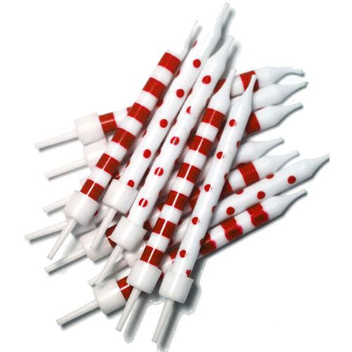 Puntos Rojos Y Velas del Partido de las Rayas con los Sostenedores - Paquete de 12