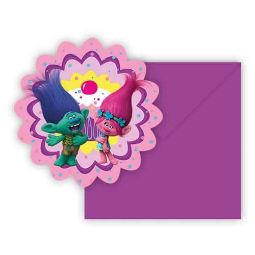 Trolls en forma de invitaciones de fiesta con sobres - Paquete de 6