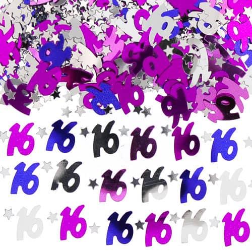 16 Cumpleaños Rosado Mesa Papel Picado - 14 g