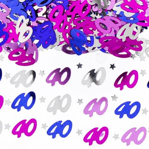 40.o confeti de mesa rosa de cumpleaños - 14 gramos