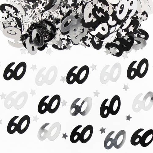 60 º Cumpleaños Negro y Confeti de Plata - 14 Gramos