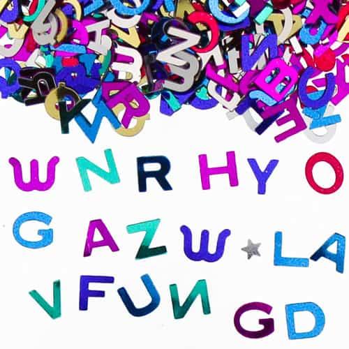 Letras Surtidas Multicolor Confeti de la Ttabla - 14 gramos