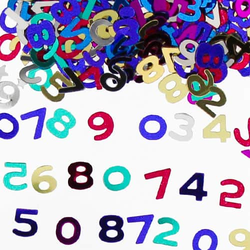 Números Surtidos Confeti de Mesa Multi Color - 14 Gramos