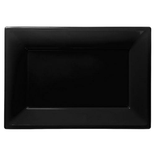 Plato Rectangular de Plástico Negro 23 x 33cm - Paquete de 3