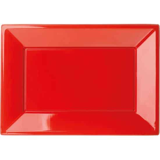 Plato Rectangular de Plástico Rojo 23 x 33cm - Paquete de 3