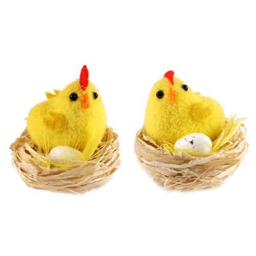 Polluelo de Pascua con Huevo en Nido - Paquete de 2