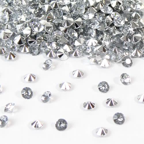 Claro Gemas De Mesa Premium De Diamantes Pequeños De 6 Mm Con Respaldo Reflejado 28 Gramos