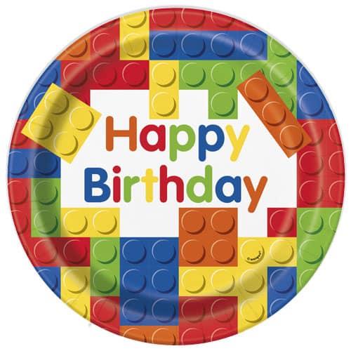 Bloques De Construcción Platos De Papel Redondos Feliz Cumpleaños 22Cm - Paquete De 8