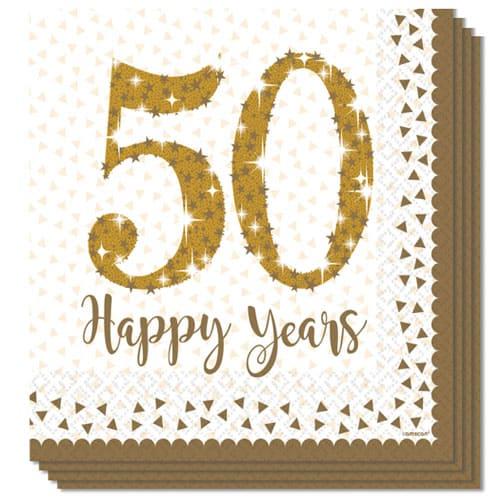 Espumoso de Oro del Aniversario de Papel Almuerzo Servilleta 33cm 2 Capas Paquete de 16