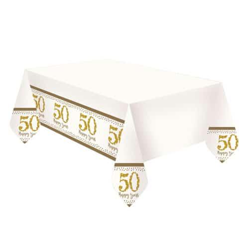 Mantel De Plástico Dorado Brillante Aniversario 180Cm X 120Cm