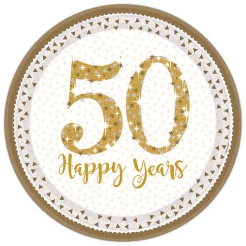Platos De Papel Redondos Brillantes Aniversario De Oro 23Cm - Paquete De 8