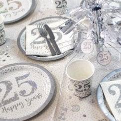 Suministros de fiesta de aniversario de plata chispeante