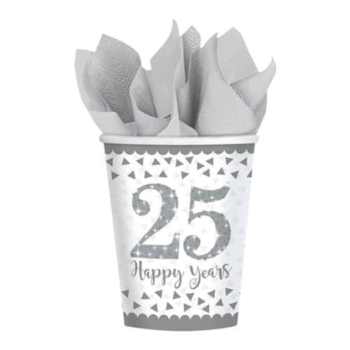 Taza de Papel de Aniversario de Plata Brillante 266 ml