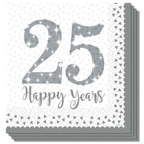 Espumoso Aniversario de Plata de Papel Almuerzo Servilleta 33cm 2Ply