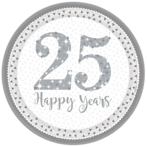 Espumoso Aniversario de Plata Plato de Papel Redondo 23cm