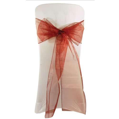 Corbata de Lazo de la Silla de Boda de Organza de Borgoña - 3m x 22cm Paquete de 6