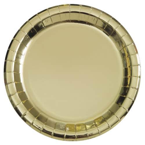 Plato de Papel Ronda de la Hoja de Oro 22cm