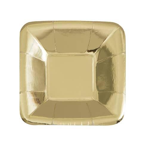 Lámina de Oro Plato de Papel Cuadrado de 12 cm Paquete de 8