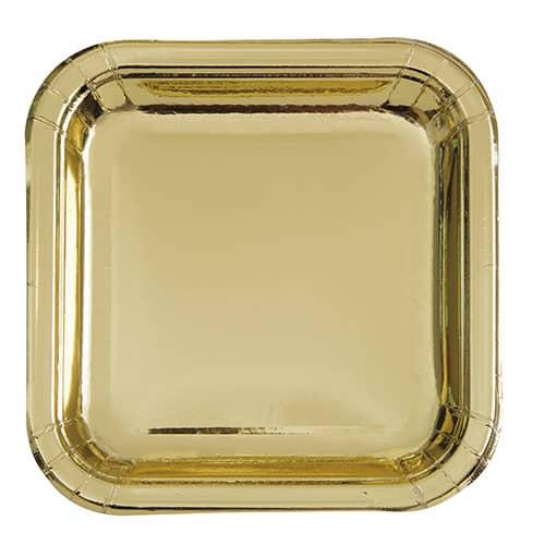 Platos De Papel Cuadrados De Lámina De Oro 17Cm - Paquete De 8