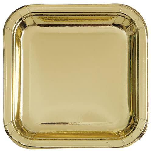 Platos De Papel Cuadrados De Lámina De Oro 22Cm - Paquete De 8
