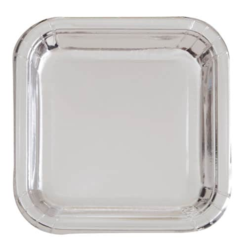 Platos De Papel Cuadrados Plateados 17Cm - Paquete De 8