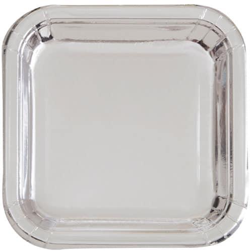 Platos De Papel Cuadrados Plateados 22Cm - Paquete De 8