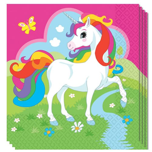 Servilletas Unicornio para Almuerzo 2 Capas 33cm Paquete De 20