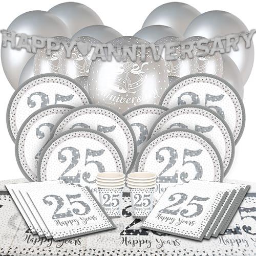 25 Aniversario De Bodas De Plata Paquete De Fiesta De Lujo Para 16 Personas