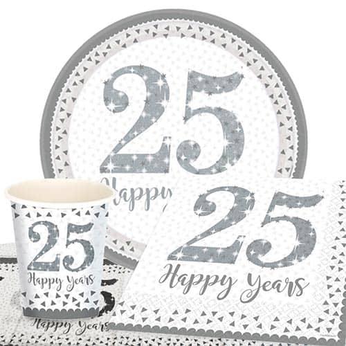 25 Aniversario De Bodas De Plata Paquete De Fiesta Con Valor Para 8 Personas