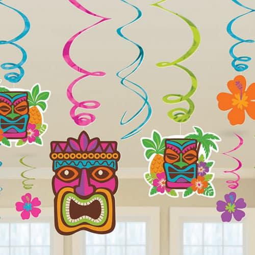 Tiki Hawaiano del Remolino Decoración Paquete de 12