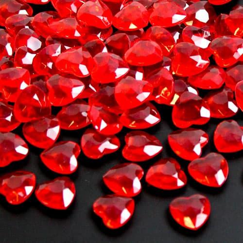 Red 12Mm Heart Diamonds Premium Table Gems 28G