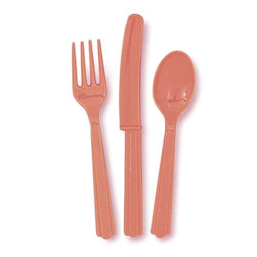 Juego de Cubiertos de Plástico Coralino (6 Tenedores, 6 Cuchillos y 6 Cucharas)