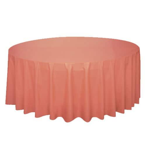 Mantel Redondo Plástico Coral 213Cm
