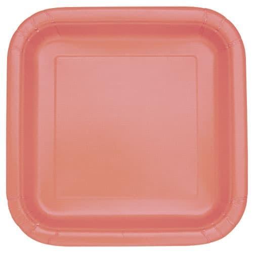 Platos De Papel Cuadrados Coral 22Cm - Paquete De 16
