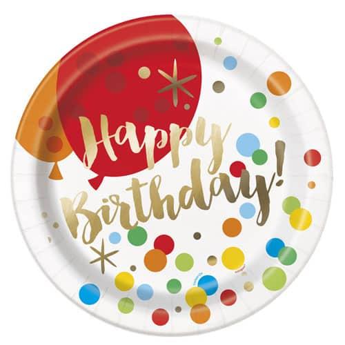 Platos De Papel Redondos De Cumpleaños De Oro Deslumbrante 22Cm - Paquete De 8