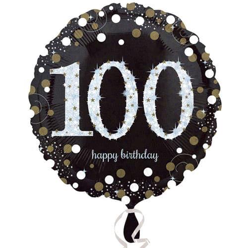 Globo de la Hoja Redonda de Oro Espuma 100o Cumpleaños 45cm