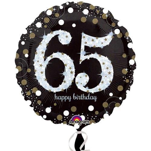 Globo de la Hoja de Oro Espuma 65a Ronda de Cumpleaños 45cm