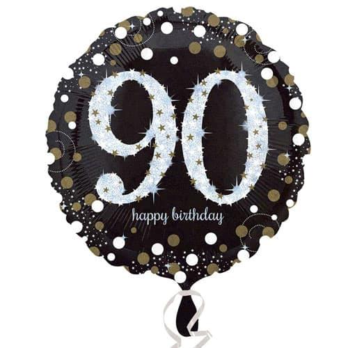 Globo de la Hoja de Oro Espuma Ronda 90 Aniversario 45cm