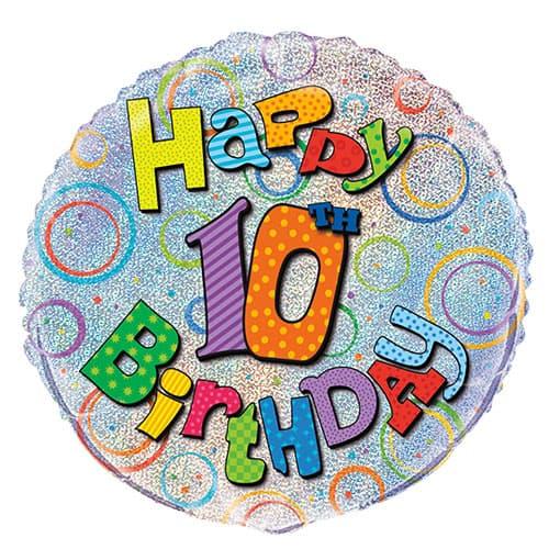 Feliz 10 ° Cumpleaños Globo de la Hoja Holográfica Ronda 45cm