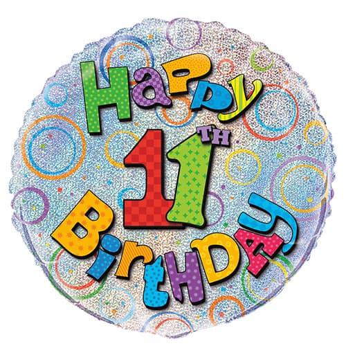 Feliz 11mo Cumpleaños Globo de la Hoja Holográfica Ronda 45cm