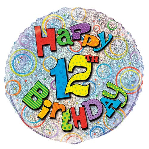 Feliz 12mo Cumpleaños Globo de la Hoja Holográfica Ronda 45cm