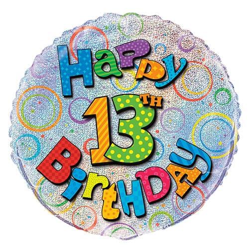 Feliz 13º Cumpleaños Globo de la Hoja Holográfica Ronda 45cm